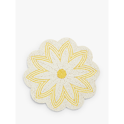 John Lewis & Partners Flower Glass Bead Placemat, White/Yellow