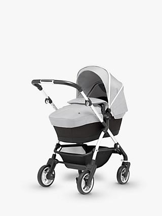 Silver Cross Wayfarer Pushchair, Chassis, Carrycot and Essentials Pack, Platinum Silver