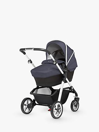 Silver Cross Pioneer Pushchair, Chassis, Carrycot and Essentials Pack, Midnight Blue