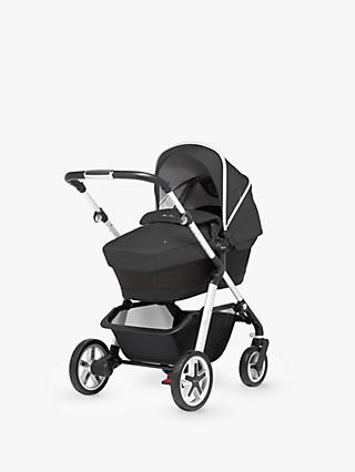 Silver Cross Pioneer Pushchair, Chassis, Carrycot and Essentials Pack, Onyx Black