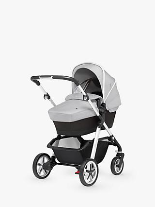 Silver Cross Pioneer Pushchair, Chassis, Carrycot and Essentials Pack, Platinum Silver