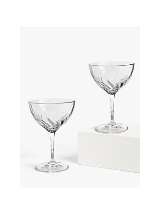 John Lewis & Partners Cut Glass Champagne Saucers, 380ml, Set of 2, Clear