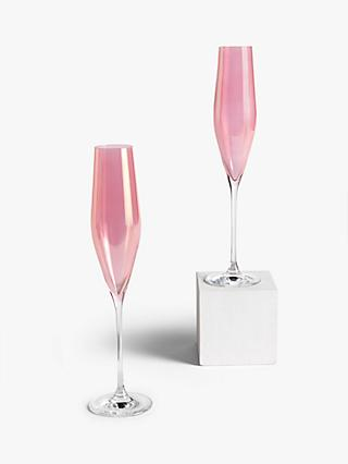 John Lewis & Partners Champagne Flutes, Set of 2, 190ml, Pink Lustre