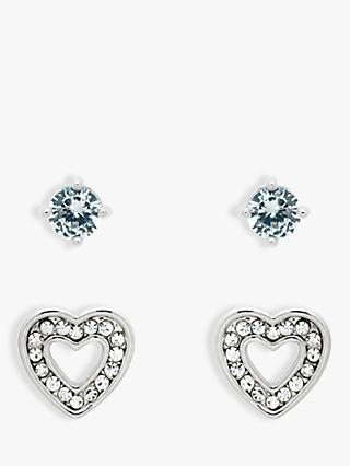 Melissa Odabash Glass Crystal Heart Stud Earrings, Silver