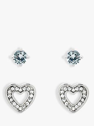 Melissa Odabash Gl Crystal Heart Stud Earrings Silver