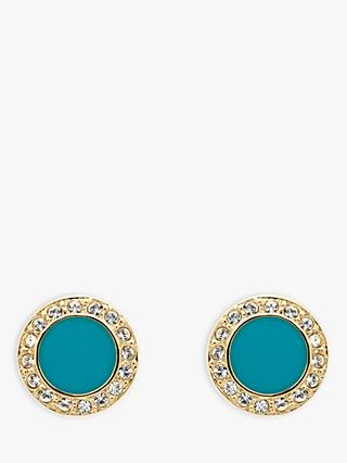 Melissa Odabash Swarovski Crystal and Enamel Round Stud Earrings, Gold/Turquoise