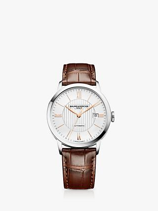 Baume et Mercier M0A10263 Men's Classima Leather Strap Watch, Brown/White