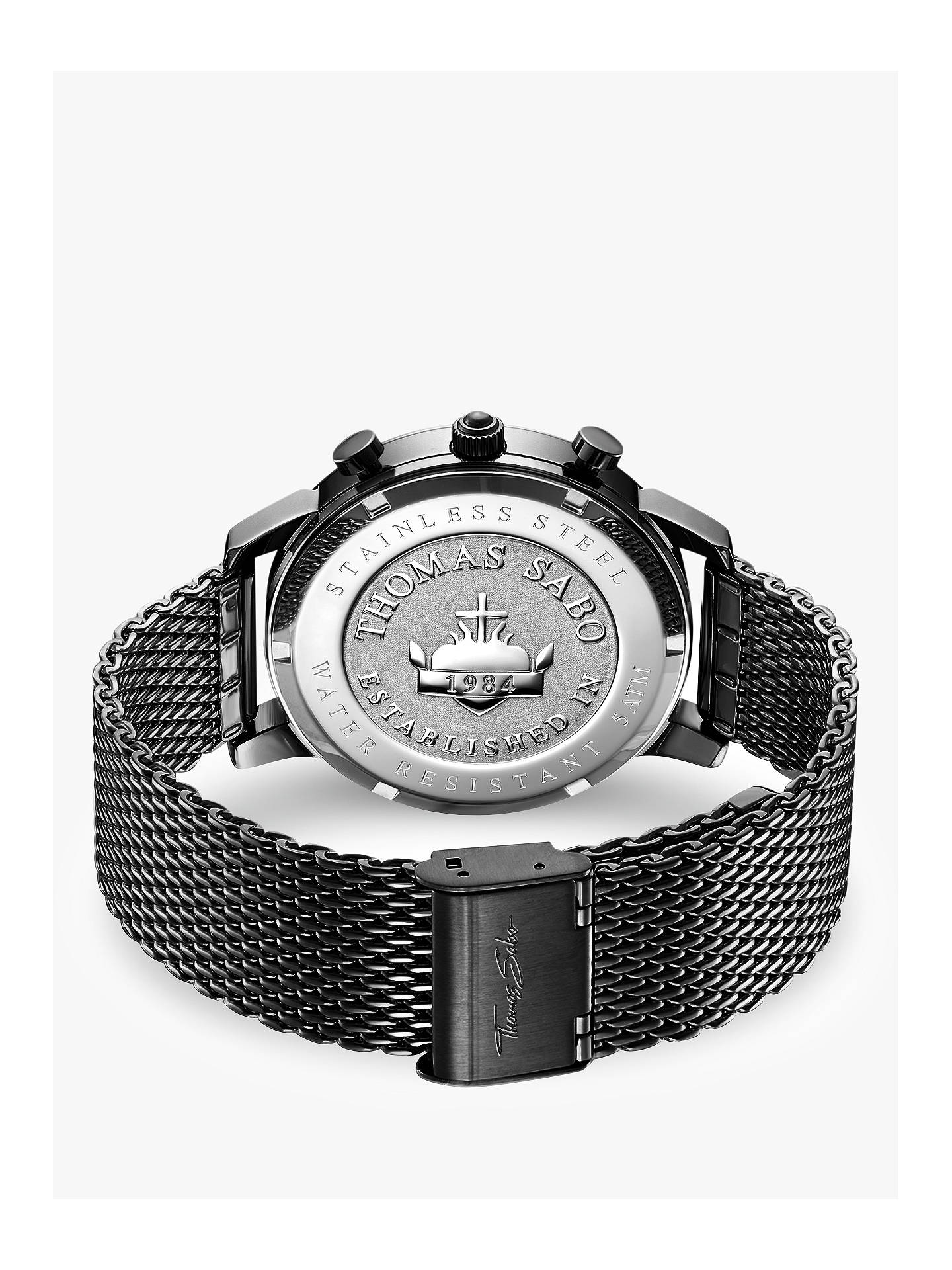 BuyTHOMAS SABO Men's Rebel Spirit Chronograph Mesh Bracelet Strap Watch, Black WA0291-287-203-42 Online at johnlewis.com