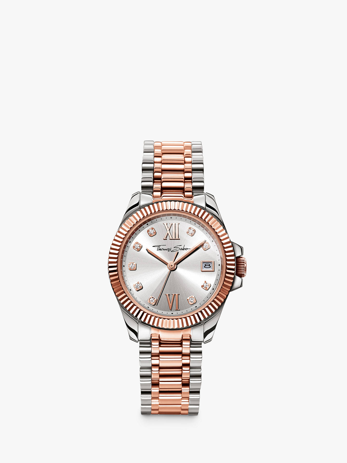 Buy THOMAS SABO Women's Divine Date Crystal Bracelet Strap Watch, Silver/Rose Gold WA0219-272-201-33 Online at johnlewis.com