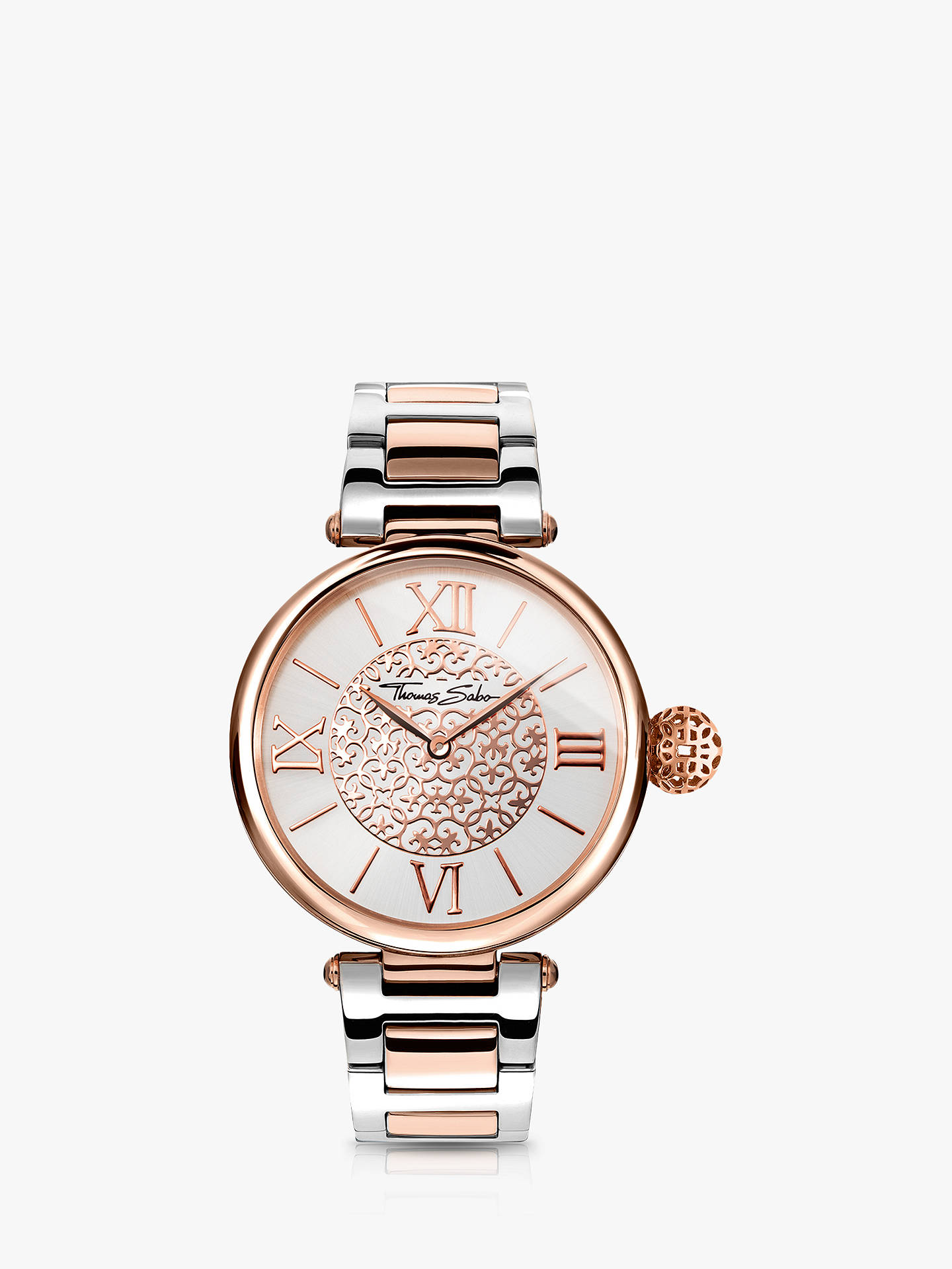 Buy THOMAS SABO WA0257-277-201-38 Women's Karma Bracelet Strap Watch, Silver/Rose Gold Online at johnlewis.com
