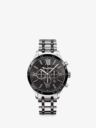 Buy THOMAS SABO WA0139-222-203-43 Men's Rebel Urban Chronograph Date Bi-Material Bracelet Strap Watch, Silver/Black Online at johnlewis.com