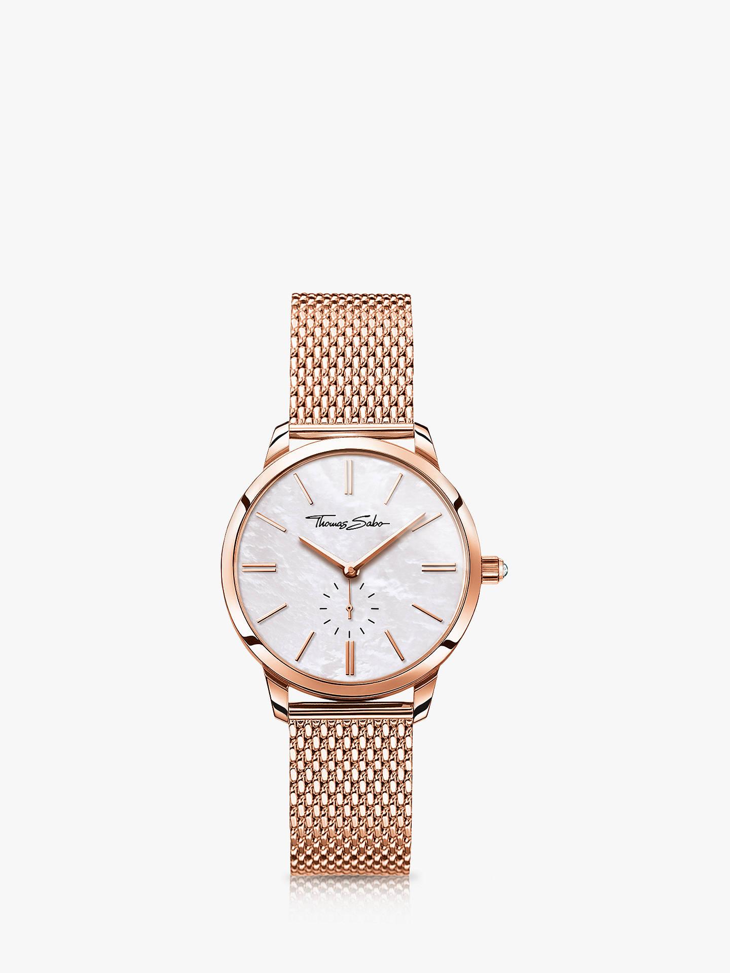 03bb8352cd Buy THOMAS SABO Women's Glam Spirit Mesh Bracelet Strap Watch, Rose  Gold/Mother of ...