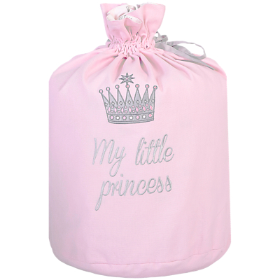 Rachel Riley My Little Princess Crown Laundry Bag, Light Pink
