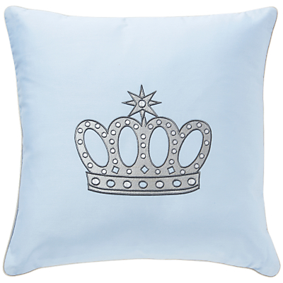Rachel Riley My Little Prince Embroidered Crown Cushion, Light Blue