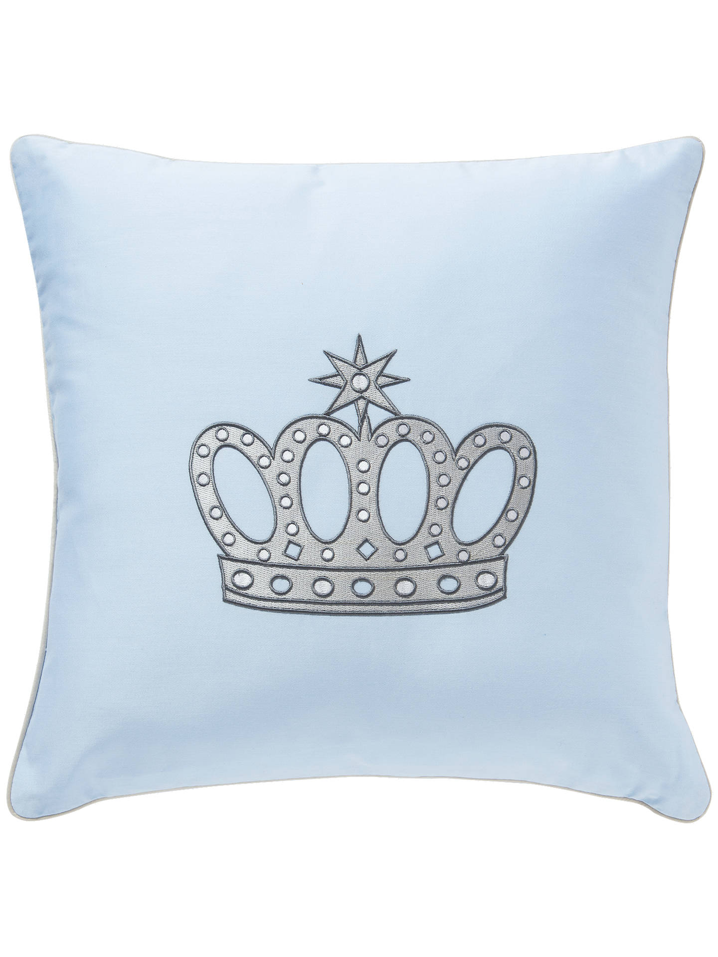 BuyRachel Riley My Little Prince Embroidered Crown Cushion, Light Blue Online at johnlewis.com