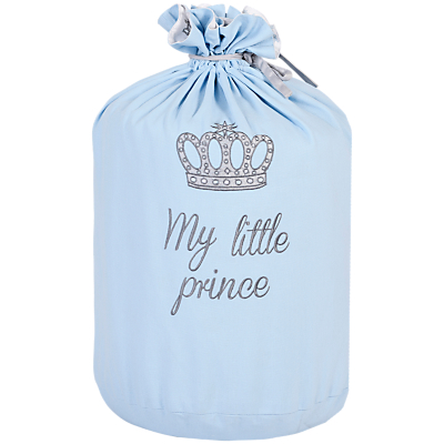 Rachel Riley My Little Prince Crown Laundry Bag, Light Blue
