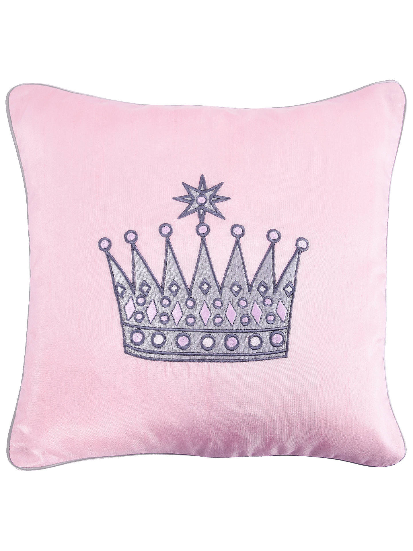 BuyRachel Riley My Little Princess Embroidered Crown Cushion, Light Pink Online at johnlewis.com