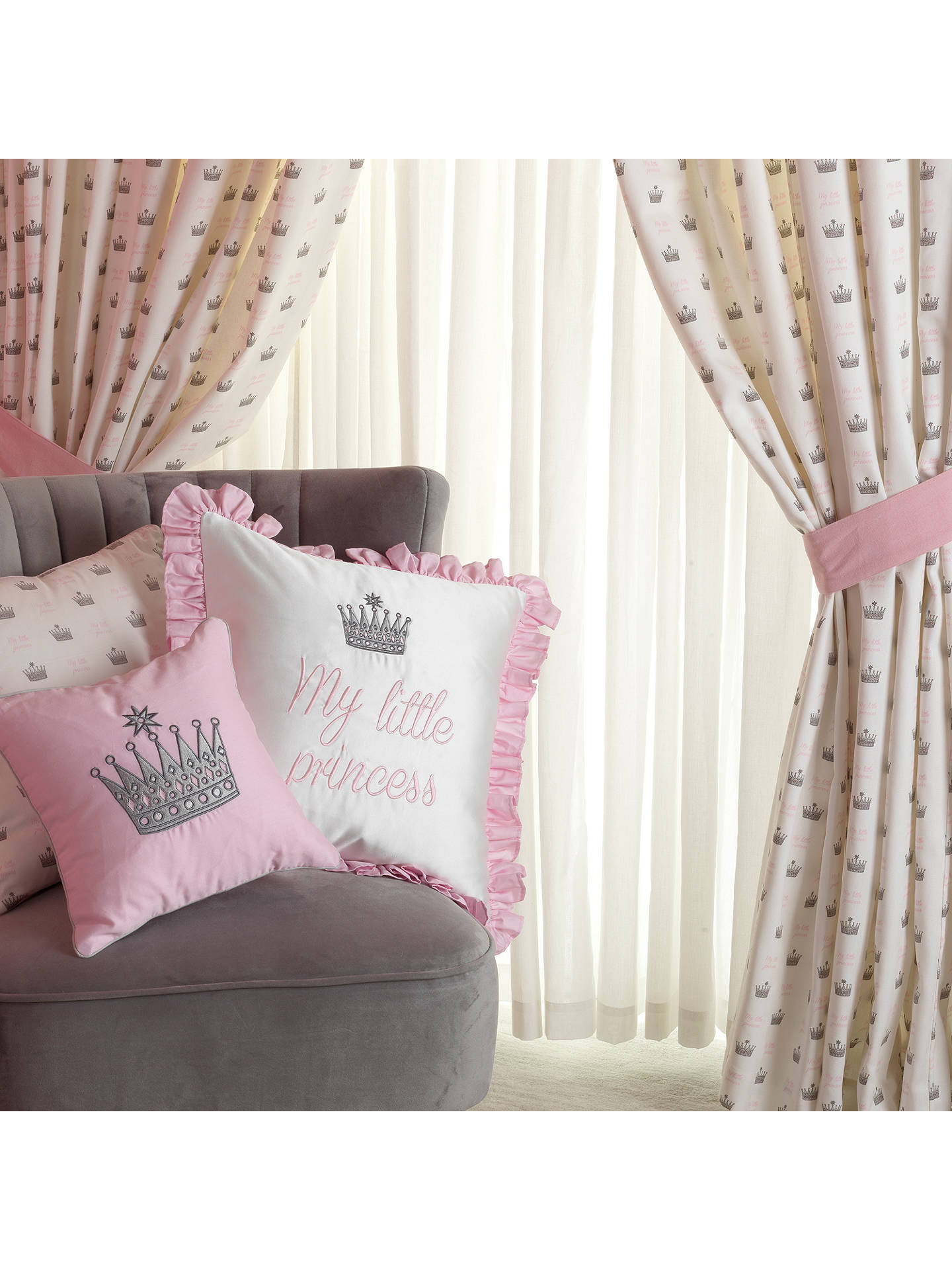 Buy Rachel Riley My Little Princess Pencil Pleat Fully Lined Children's Curtains, Light Pink Online at johnlewis.com