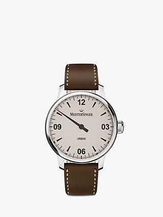MeisterSinger UR913 Unisex Urban Automatic Leather Strap Watch, Brown/Cream