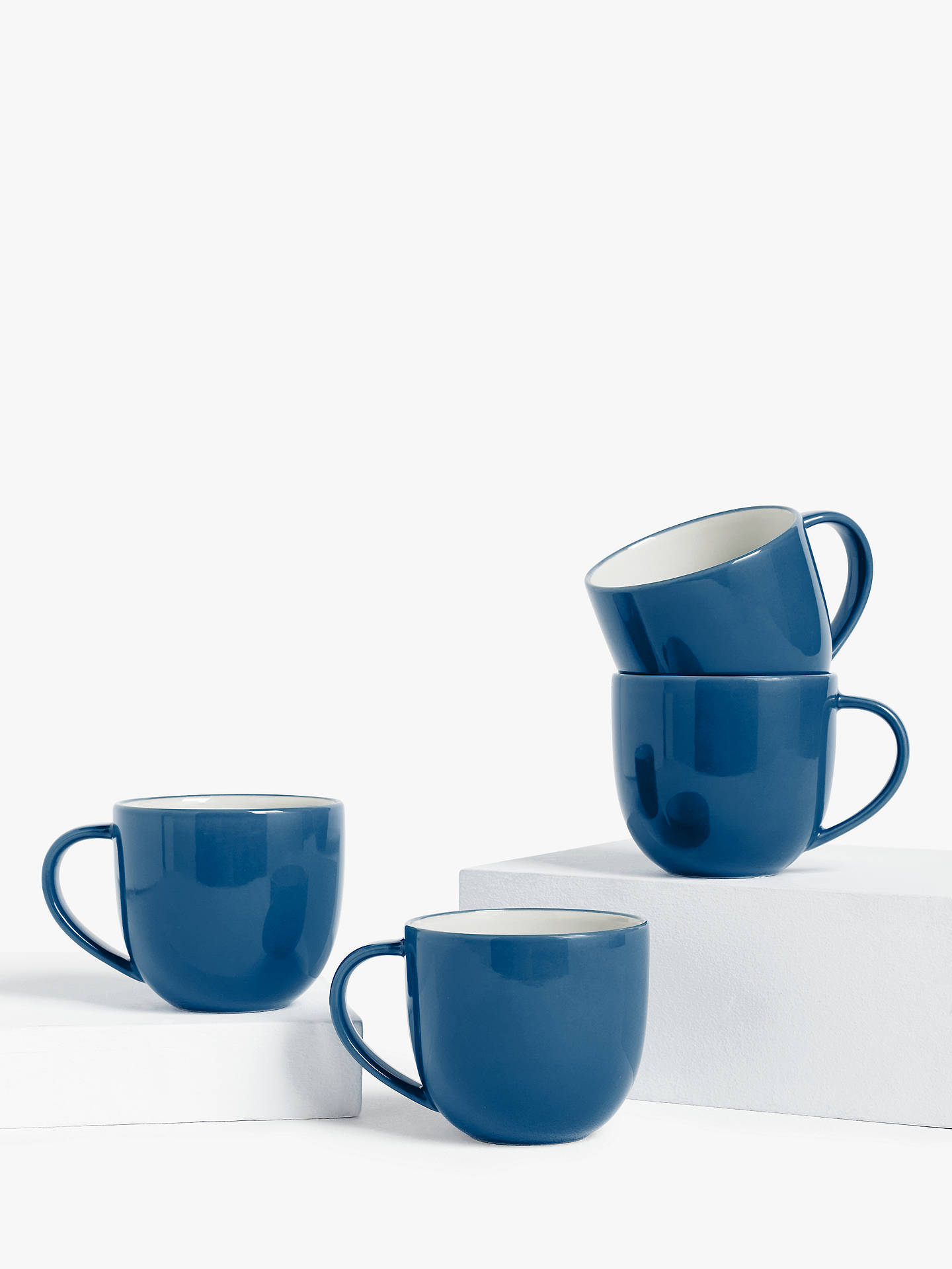 Buy House by John Lewis Stoneware Mugs, Set of 4, 340ml, Blue Online at johnlewis.com