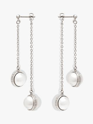 Karen Millen Logo Pearl Double Drop Earrings