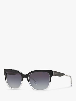 Ralph RA5247 Women's Square Sunglasses, Black Clear/Grey Gradient