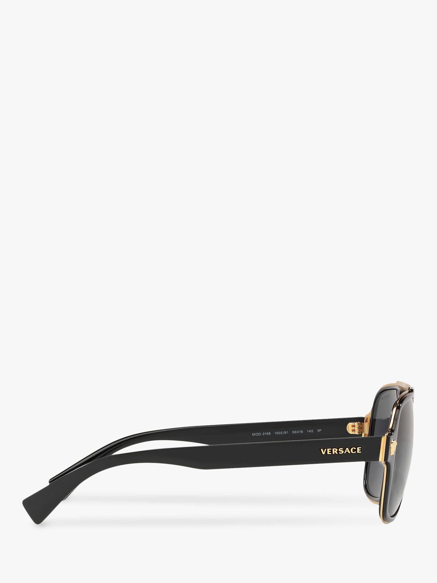 Versace VE2199 Men's Polarised Geometric Sunglasses, Black/Grey