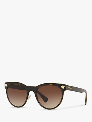 Versace VE2198 Women's Oval Sunglasses, Tortoise/Brown Gradient