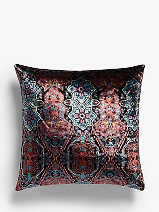 Osborne & Little Iolanthe Cushion, Aubergine / Coral