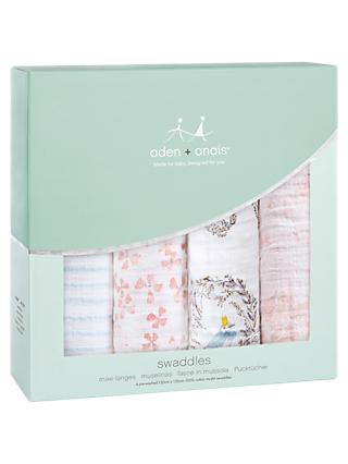aden + anais Baby Birdsong Swaddle Blanket, Pack of 4