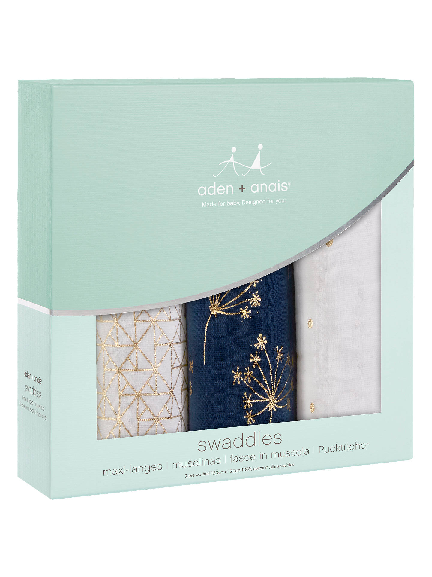 Buyaden + anais Baby Swaddle Blanket, Pack of 3, Gold Deco Online at johnlewis.com