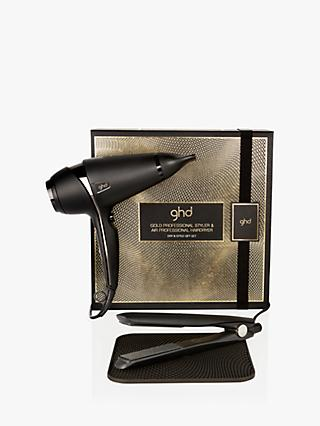 ghd Dry & Style Gift Set with ghd Gold® Hair Straightener and ghd Air® Hairdryer, Black