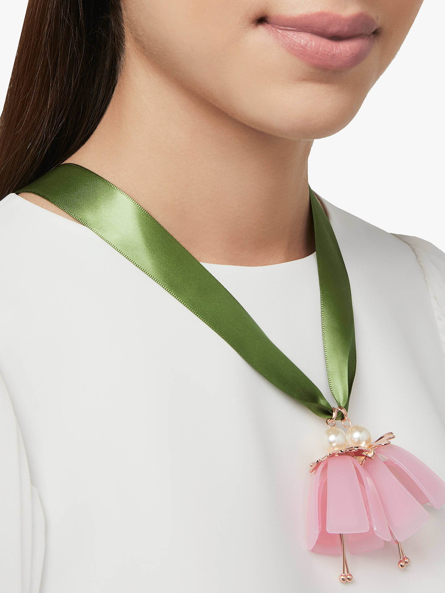 BuyTed Baker Daliana Dolly Flower Pendant Necklace, Green Online at johnlewis.com