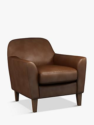 John Lewis & Partners Connor Leather Armchair, Dark Leg