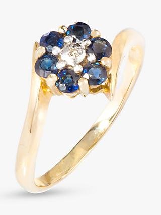 A B Davis 9ct Gold Sapphire and Diamond Flower Cocktail Ring, Gold/Blue