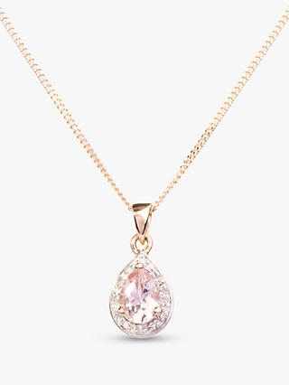 A B Davis 9ct Rose Gold Morganite and Diamond Teardrop Pendant Necklace, Rose Gold