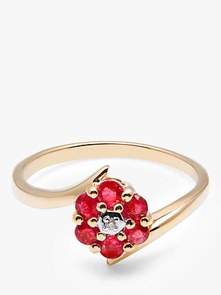 A B Davis 9ct Gold Ruby and Diamond Flower Cocktail Ring, Gold/Red