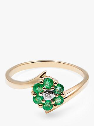 A B Davis 9ct Gold Emerald and Diamond Flower Cocktail Ring, Gold/Green