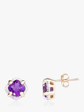 486eec97e A B Davis 9ct Gold Amethyst Square Stud Earrings, Purple