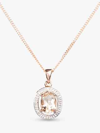 A B Davis 9ct Rose Gold Morganite and Diamond Oval Pendant Necklace, Rose Gold