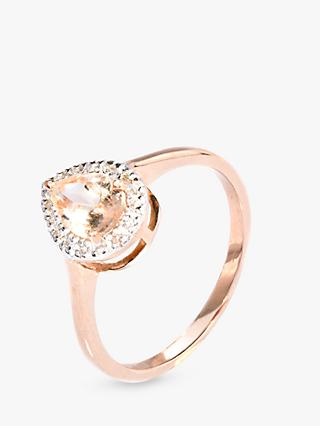 A B Davis 9ct Rose Gold Morganite and Diamond Teardrop Cocktail Ring, Rose Gold/Pink