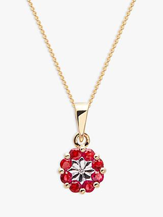 A B Davis 9ct Gold Precious Stone and Diamond Flower Pendant Necklace