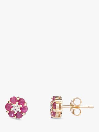 A B Davis 9ct Gold Ruby and Diamond Flower Stud Earrings, Red