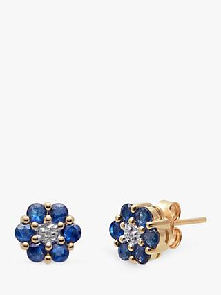 A B Davis 9ct Gold Precious Stone and Diamond Flower Stud Earrings