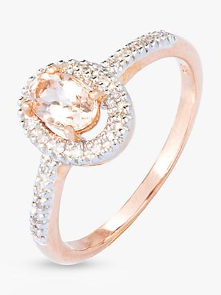 A B Davis 9ct Rose Gold Morganite and Diamond Oval Cocktail Ring