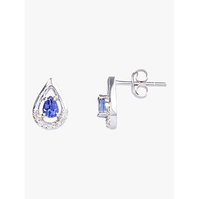 A B Davis 9ct White Gold Tanzanite and Diamond Teardrop Stud Earrings, Blue