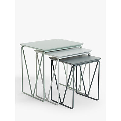 House by John Lewis Insert Nest of 3 Tables, Grey/Dusty Green