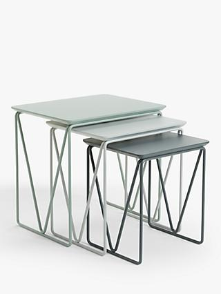 House By John Lewis Insert Nest Of 3 Tables Grey Dusty Green