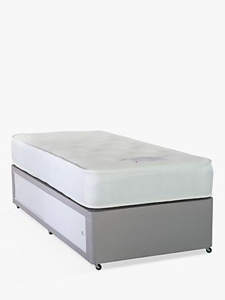 John Lewis & Partners Divan Base and Pocket Memory Mattress Set, Medium Tension, Single, Light Grey