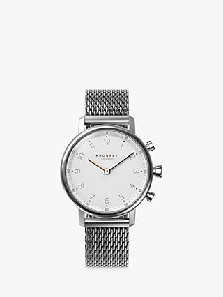 Kronaby Connected A1000-0793 Unisex Nord Mesh Bracelet Strap Smartwatch, Silver/White